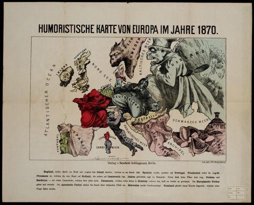 Humoristische Karte Von Europa 1914.Humoristische Karte Von Europa Im Jahre 1870 Erfgoed